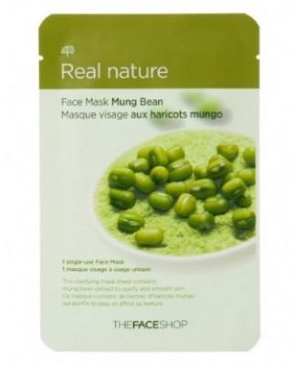 Маска с экстрактом бобов маш THE FACE SHOP Real nature mask sheet mung bean 20 г.: фото
