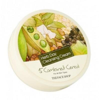Крем очищающий с комплексом зерновых культур THE FACE SHOP Herb day cleansing cream five grain 150 мл: фото