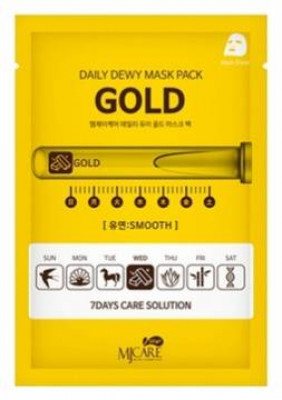 Маска тканевая c золотом Mijin CARE DAILY DEW MASK PACK GOLD 25гр: фото