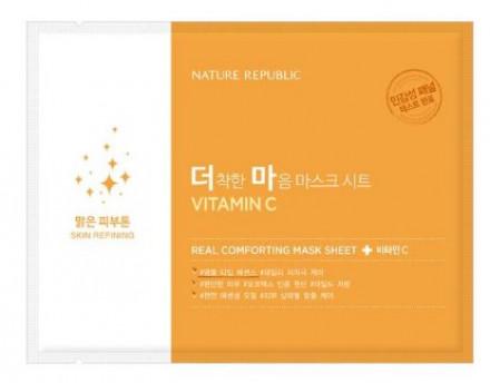 Маска тканевая для чувствительной кожи NATURE REPUBLIC REAL COMFORTING MASK SHEET [VITAMIN C] 24гр: фото
