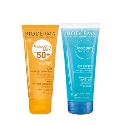 Набор Bioderma Photoderm: Max Молочко SPF50 100мл + Атодерм Гель для душа 100шт: фото