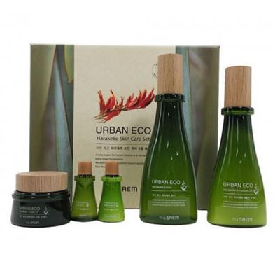 Набор уходовый с экстрактом новозеландского льна THE SAEM Urban Eco Harakeke Skin Care 3 Set Toner, Emulsion, Cream 180мл/140мл/20мл/20мл/60мл: фото