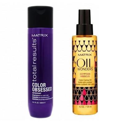 Набор Matrix Total results Color Obsessed: шампунь 300мл + масло 125мл: фото