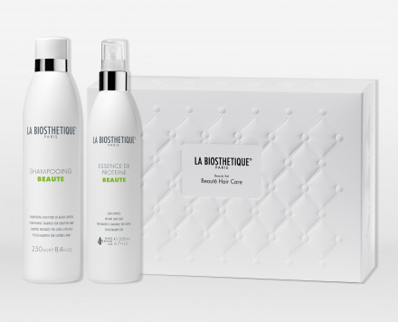 Набор для волос La Biosthetique Beauty Set Beaute Hair Care: Shampooing Beaute 250 мл + Essence De Proteine 200 мл + косметичка: фото
