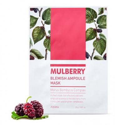 Тканевая маска для устранения покраснений A'PIEU Mulberry Blemish Ampoule Mask 23г: фото