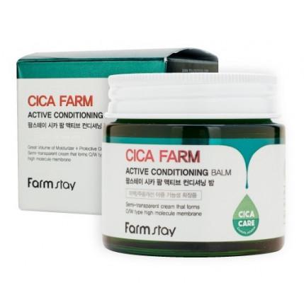 Крем-бальзам для лица с центеллой азиатской FarmStay CICA FARM ACTIVE CONDITIONING BALM 80г: фото
