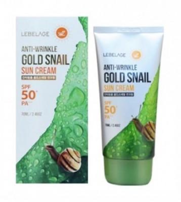 Солнцезащитный крем против морщин с муцином улитки и золотом LEBELAGE Gold Snail Sun Cream SPF50/PA+++ 70мл: фото